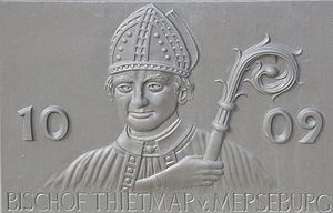 Thietmar of Merseburg - Thietmar of Merseburg in a Bas-relief by Karolin Donst, Tangermünde