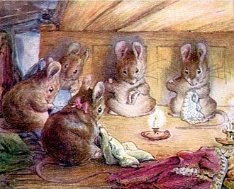 The Tailor of Gloucester - The mice sewing
