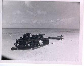 Bokak Atoll - Corroded skeleton of IJN landing craft, Sibylla Island, 1953.