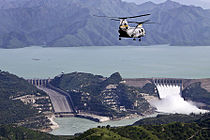 Tarbela Dam during the 2010 floods.jpg
