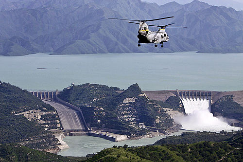 Tarbela Dam, the largest earth filled dam in the world, was constructed in 1968. Tarbela Dam during the 2010 floods.jpg