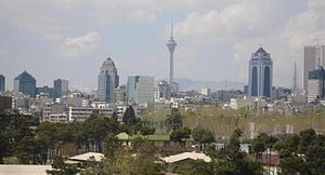 Tehran skyline with Milad Tower in the background.