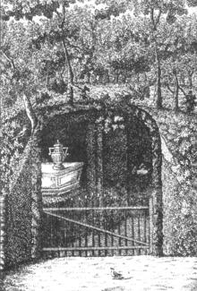 Die Stadt Hamburg widmete Telemann ein monumentales Grabdenkmal im altrömischen Stil, das im Park des Etatrats Carl Friedrich Richardi errichtet wurde (Kupferstich von 1781). Wahrscheinlich existierte es bereits 1796 nicht mehr. (Quelle: Wikimedia)