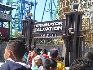Apocalypse: The Ride - Terminator Salvation: The Ride sign.