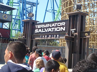 Apocalypse: The Ride - Terminator Salvation: The Ride sign.