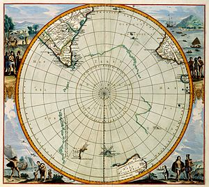 Second voyage of James Cook - Map of the supposed position of the hypothetical continent of Terra Australis Incognita (1657)