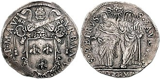 Barberini family - Barberini coat-of-arms (three bees) surmounted by papal tiara and crossed keys on coin struck for Pope Urban VIII.