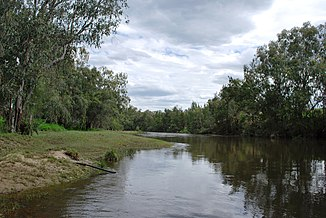 Dumaresq River bei Texas. New South Wales ist am rechten Ufer, Queensland am linken.