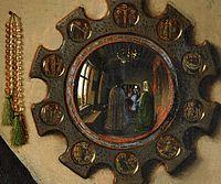 Les époux Arnolfini par Jan Van Eyck en 1434: vue d'ensemble et détail du miroir