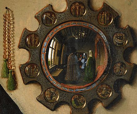 Realist or illusionistic detail of the convex mirror in the Arnolfini Portrait by Jan van Eyck, 1434 The Arnolfini Portrait, detail (2).jpg