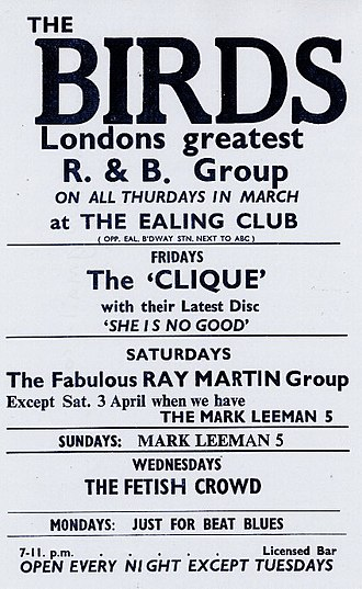 The Birds (band) - Poster for The Birds at The Ealing Club, circa 1965.