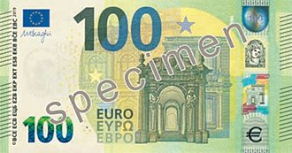 Euro - The design for the new Europa series 100 euro note (and for new 50 and 200 notes) features the acronyms of the name of the European Central Bank in ten linguistic variants, covering all official languages of the EU28.