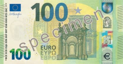 The Europa series 100 € obverse side