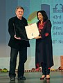 The Film Director, Mira Nair being awarded with the Special Centenary Award by the Australian Film Maker, Mr. Paul Fox, at the closing ceremony of the 43rd International Film Festival of India (IFFI-2012), in Panaji, Goa.jpg
