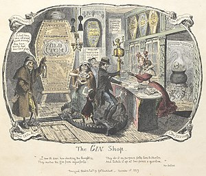 Gin - Cruikshank's engraving of The Gin Shop (1829)