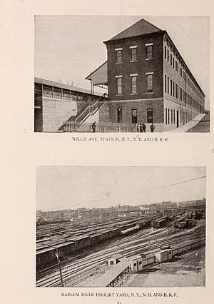 Willis Avenue (IRT elevated station) - The Willis Avenue station (top).