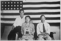 The Hirano family, left to right, George, Hisa, and Yasbei. Colorado River Relocation Center, Poston, Arizona., 1942... - NARA - 535989.tif