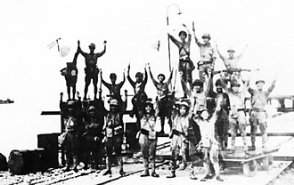 2nd Division (Imperial Japanese Army) - The IJA 2nd Division celebrates landing at Merak, Java during World War II.