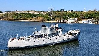 Hurricane Irma - Patrol boat Admiral Didiez Burgos of the Dominican Navy delivering disaster supplies in Havana Harbor after Hurricane Irma.
