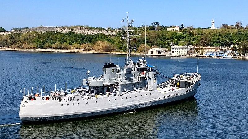 The Patrol 301, Admiral Didiez Burgos of the Dominican Navy delivering disaster supplies in Havana Harbor after Hurricane Irma.jpg