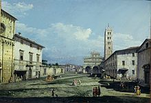 Place San Martino de Lucques, toile de Bernardo Bellotto