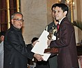 The President, Shri Pranab Mukherjee presenting the Arjuna Award for the year-2012 to Shri Parupalli Kashyap for Badminton, in a glittering ceremony, at Rashtrapati Bhavan, in New Delhi on August 29, 2012.jpg