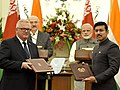 The Prime Minister, Shri Narendra Modi and the President of the Republic of Belarus, Mr. Alexander Lukashenko witnessing the exchange of agreements between India and Belarus, at Hyderabad House, in New Delhi (1).jpg