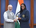 The Prime Minister, Shri Narendra Modi with the Rio Olympic Silver Medal Winner & Rajiv Gandhi Khel Ratna Awardee of 2016, Indian shuttler P.V. Sindhu, in New Delhi on August 28, 2016.jpg