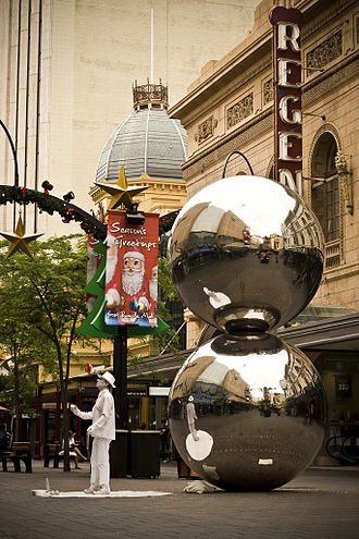 "Rundle Mall - The Spheres, known colloquially as ""The Mall's Balls"", in November 2008."