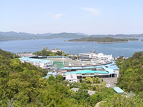 The Tamano cycle race place is faced from the distance.JPG