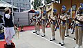 The Union Home Minister, Shri Rajnath Singh taking the salute of the Guard of Honour, during his visit to the CRPF Camp, in Anantnag district on September 10, 2017.jpg
