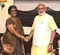 The former President of Sri Lanka, Mrs. Chandrika Kumaratunga calling on the Prime Minister, Shri Narendra Modi, in New Delhi on September 03, 2015.jpg