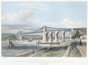 Menai Suspension Bridge - The suspension bridge, over the Menai c.1840