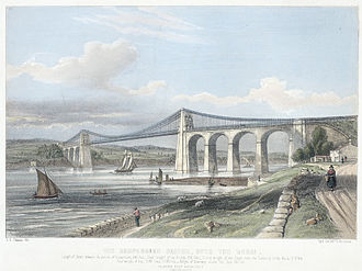 Menai Suspension Bridge - The suspension bridge, over the Menai c.1840
