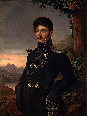 Dora Stock - Dora Stock's posthumous portrait (1815) of her nephew Theodor Körner. He is shown in his Freikorps uniform, standing under an oak.