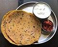 Thepla with pickle and yogurt (dahi)