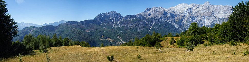 Panorama of Thethi mountains in Albania.