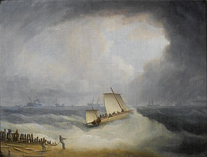 Thomas Buttersworth - A Deal Lugger going off to storm bound ships in the Downs.jpg