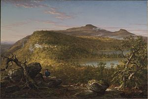 Catskill Mountain House - Thomas Cole - A View of the Two Lakes and Mountain House, Catskill Mountains, Morning - Brooklyn Museum