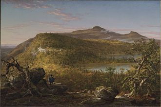 Hudson River School - Thomas Cole, A View of the Two Lakes and Mountain House, Catskill Mountains, Morning, 1844, Brooklyn Museum of Art