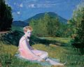 Thorma Hillside Sitting Girl in Pink Dress 1927.jpg