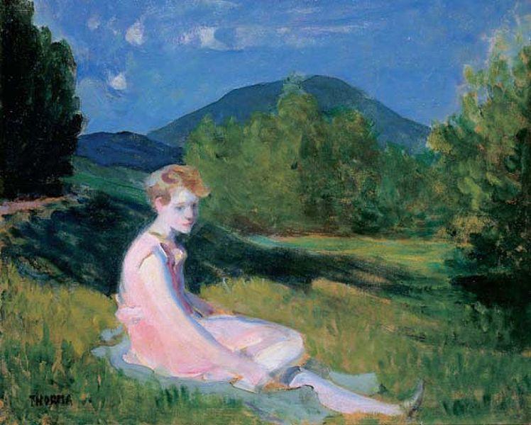 File:Thorma Hillside Sitting Girl in Pink Dress 1927.jpg