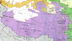 Ethnolinguistic Groups of Tibetan language, 1967 (See entire map, which includes a key)