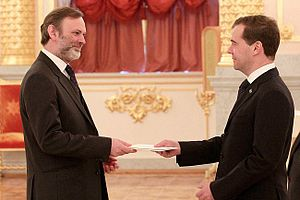 Tim Barrow - Barrow presents his letter of credence to Dmitry Medvedev, then-President of Russia, on 7 December 2011.