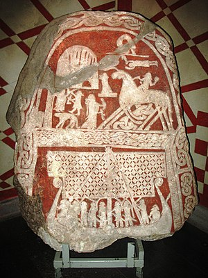 Death in Norse paganism - This image is usually interpreted as a Valkyrie who welcomes a dead man, or Odin himself, on the Tjängvide image stone from Gotland, in the Swedish Museum of National Antiquities in Stockholm.