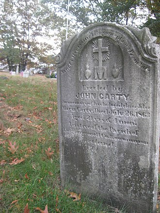 Irish Americans - Gravestone in Boston Catholic cemetery erected in memory of County Roscommon native born shortly before the Great Famine