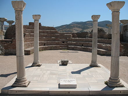 Tomb of St. John the Apostle, in St. John's Basilica, Ephesus, near modern-day Selcuk, Turkey. Tomb of Saint John the Apostle.jpg