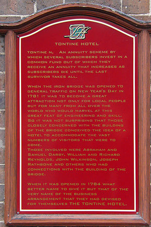 Tontine - Tontine Hotel sign, Ironbridge, UK