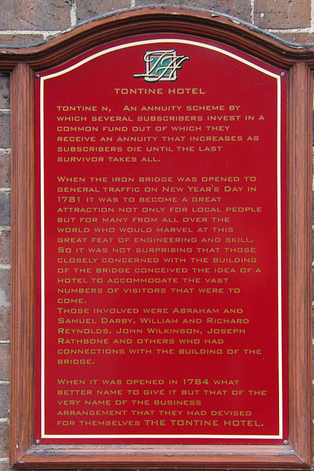 Tontine Hotel sign, Ironbridge, UK Tontine Hotel sign, Ironbridge, UK.JPG