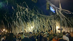 Auburn Tigers - Fans rolling the trees opposite Toomer's Drugs after a home win over Clemson in 2010